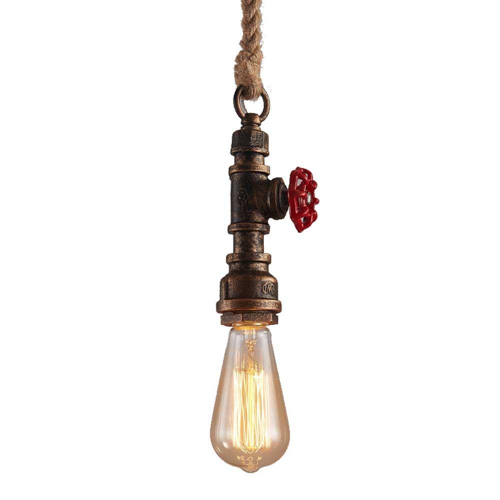 Modeen Lampada da parete della corda della corda della canapa della tubatura dell'acqua del ferro industriale dell'annata della luce della parete di dell'annata con la presa di, E27 [Classe di efficienza energetica A+++]