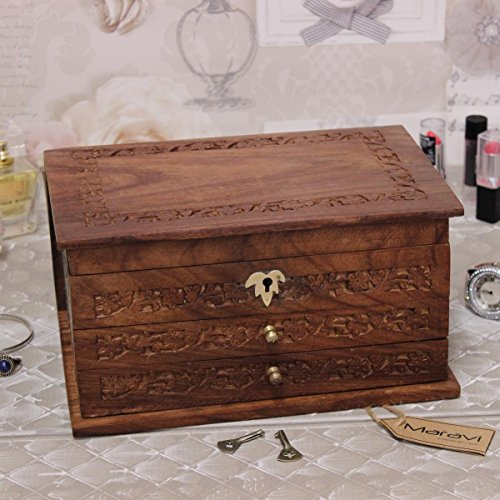 Large Hand Carved Wooden Jewellery Box 2 Draws Lock and Key Mirror Lined by Maravi