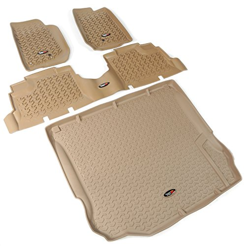 (Rugged Ridge All-Terrain 13988.04 Tan Front, Rear and Cargo Floor Liner Kit For Select Jeep Wrangler Unlimited Models)