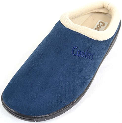 SNUGRUGS Ladies/Womens Slip On Slippers/Mules With Warm Fleece Lining Navy