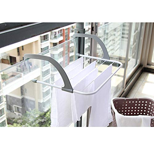 TOAO Indoor/Outdoor Easy Install Folding Clothes Drying Rack-Hanging over the door or on Bathroom Windowsill Guardrail Corridor Balcony