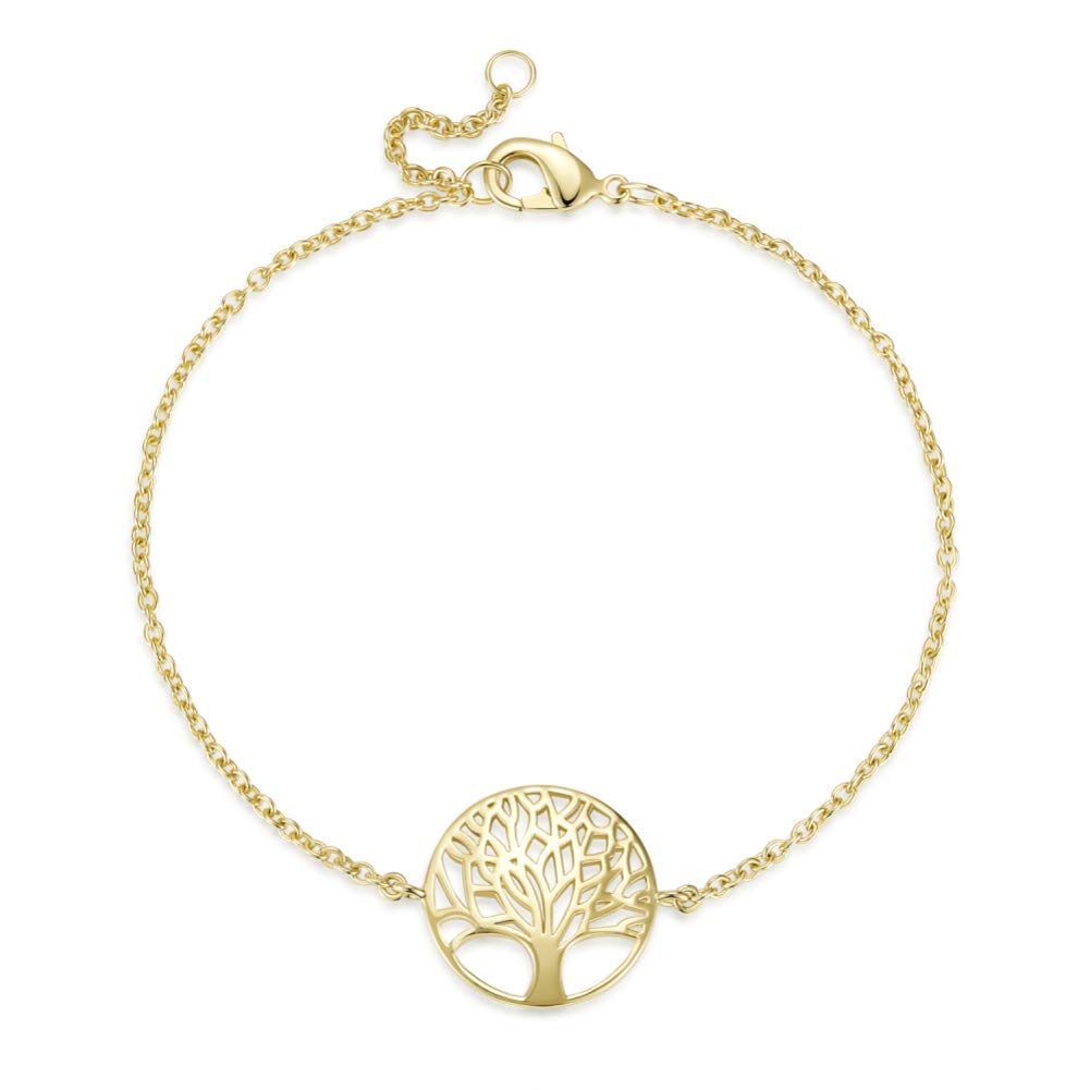 Agvana Gold Filled/Sterling Silver Tree of Life Minimalist White Gold Plated Chain Bracelet Gift for Women Girls B07G5873MF_US