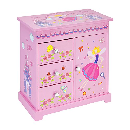 JewelKeeper Wooden Music Box with 3 Pullout Drawers, Fairy and Castle Design, Waltz of the Flowers Tune