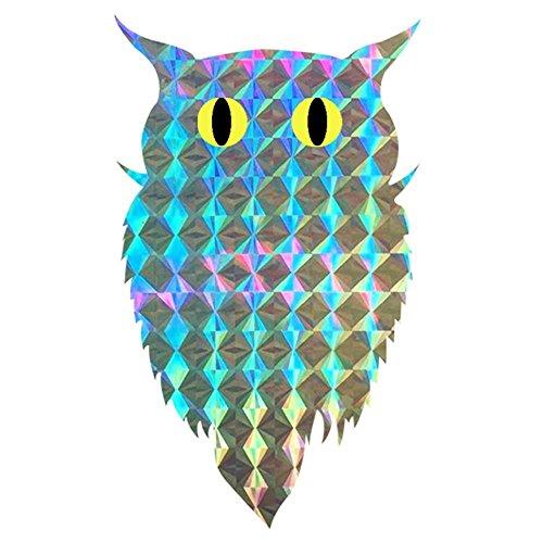 - Pop Resin Bird Repellent Blinder Reflective self Adhesive Owl Sticker (100pcs/roll) Eco Friendly Scare A Bird - Window Decor Decals (Silver02)