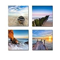 Wieco Art - Seaview Modern Seascape Giclee Impresiones de lienzo Obra Contemporánea Paisaje Playa del mar Fotos a foto Pinturas sobre lienzo Arte de pared para decoraciones para el hogar Decoración de pared 4pcs /set