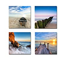 Wieco Art - Seaview Modern 4 Piece Seascape Giclee Canvas Prints Artwork Contemporary Landscape Sea Beach Pictures Paintings on Canvas Wall Art for Living Room Bedroom Home Decorations