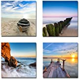 Wieco Art - Seaview Modern Seascape Giclee Canvas Prints Artwork Contemporary Landscape Sea Beach Pictures to...