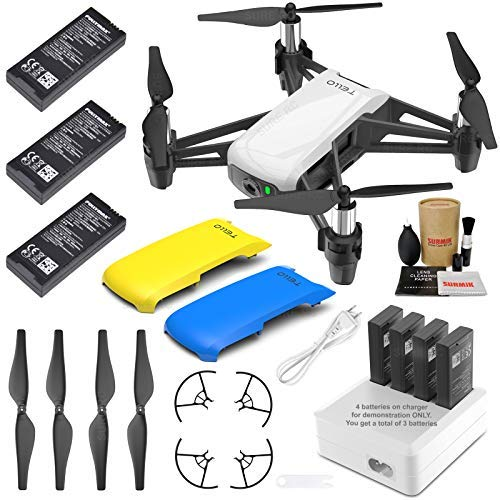 Tello Drone Quadcopter Elite Plus Combo with 3 Batteries, 4 Port Charger, Yellow & Blue Snap-On Covers and More