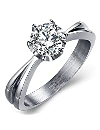 Women Sterling Silver Stainless Steel Eight Hearts Eight Arrow Diamond Ring Promise Rings