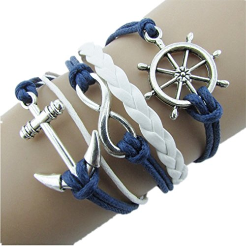 Willsa Alloy Silver Nautical Anchor Bracelet Blue Faux Leather Rope Bangle