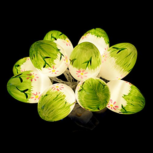 ANGROC Battery Operated 10 LED Indoor Easter Decorative Painted Eggshell String ()