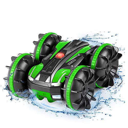 Remote Control WaterproofBoat Truck - Pool Toys Gift 4WD 2.4Ghz Amphibious Vehicle Rotating Tumbling 360° RC Off Road All Terrain Stunt Car for Kids 3 4 5 6 7 8 Years Old