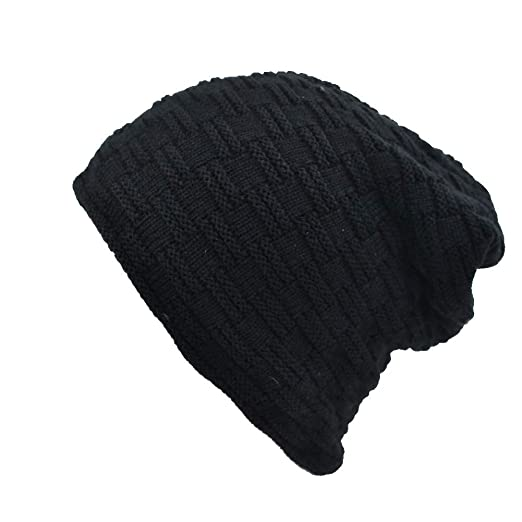 879e6c239179a Yosang Adult Knit Beanie Hat Winter Cashmere Skull Slouchy Cap Black ...