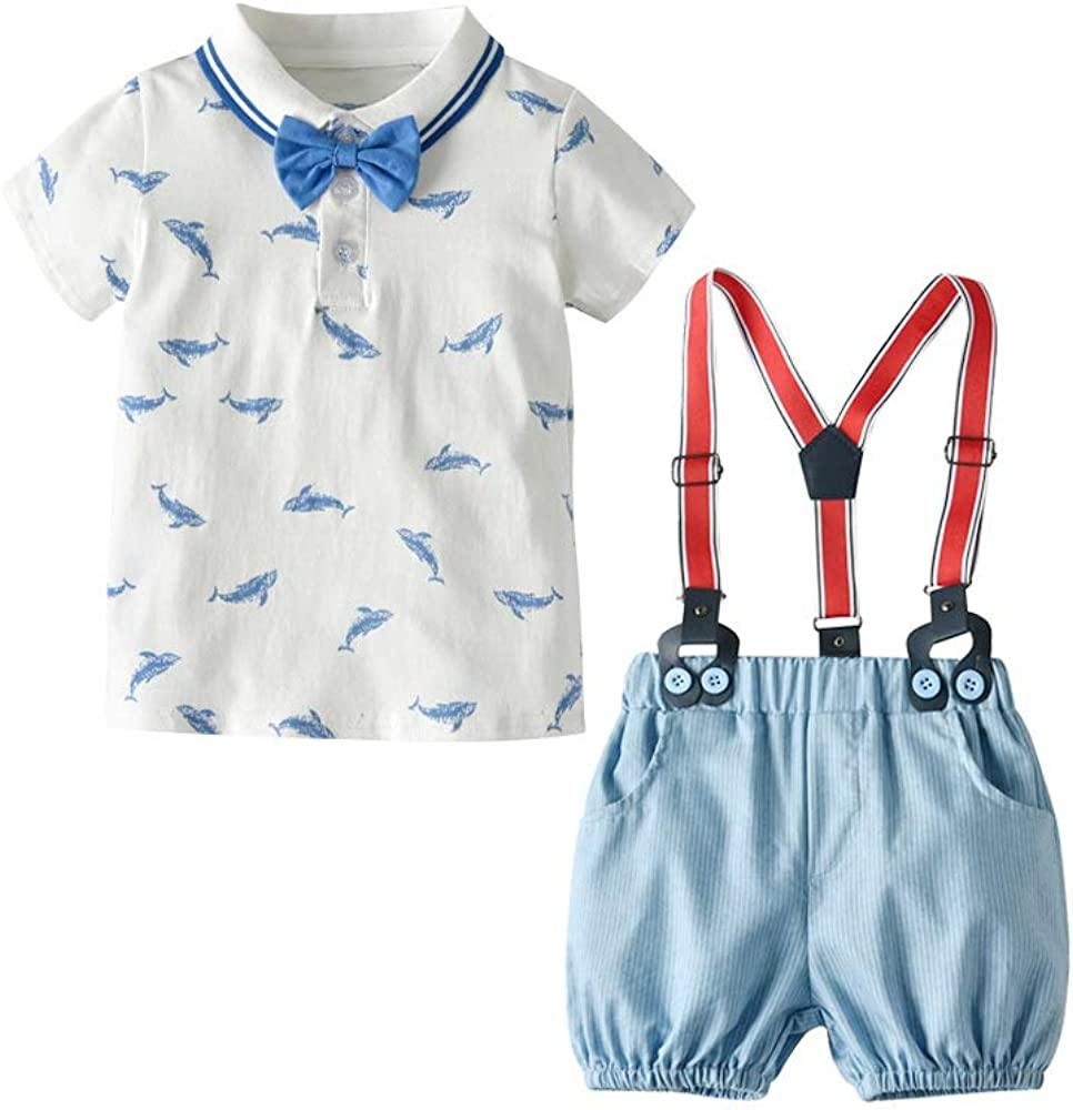 Conjunto de Pantalones Cortos de Manga Corta de Summer Boy Camisa de algodón de Manga Corta de Ballena de Ballena Pantalones a Rayas Conjunto de Pantalones de Correa: Amazon.es: Ropa y accesorios