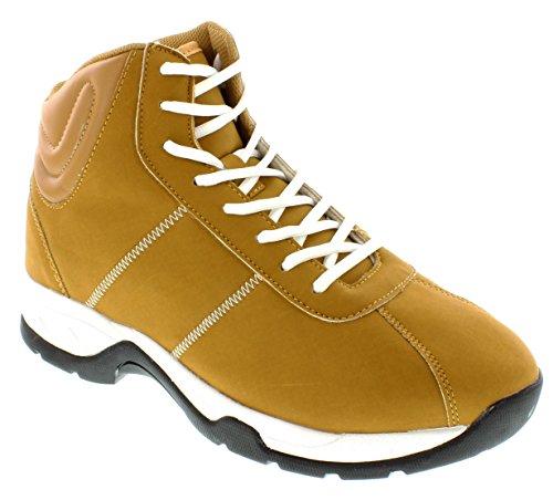 calto–g3324–8,1cm Grande Taille–Hauteur Augmenter Chaussures ascenseur (Marron Montantes Sneakers)