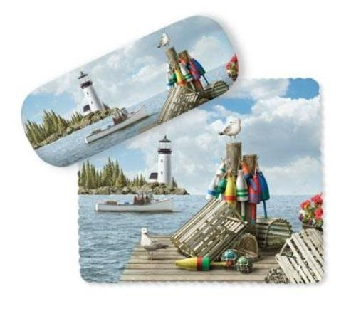 Coastal Dockside Pier Buoys Lighthouse Eye Glasses Case and Lens Cloth by Cape Shore from Cape Shore