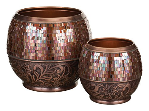 Regal Art & Gift Metal and Glass Jewel Planter Set of 2 Bronze Garden Decor