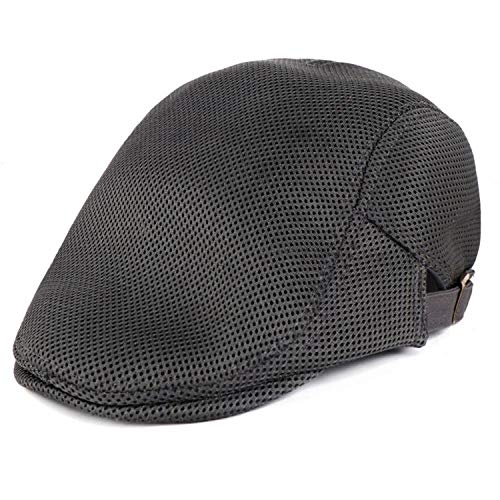 CHENTAI Mens Breathable Mesh Summer Duckbill Hat Newsboy Beret Ivy Cap Cabbie Flat Soft Driving Outdoor Adjustable Gray