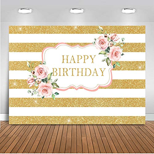 (Mehofoto Pink Rose Birthday Backdrop Gold Stripes Birthday Photography Background 7x5ft Vinyl Women Birthday Party Banner Backdrops)