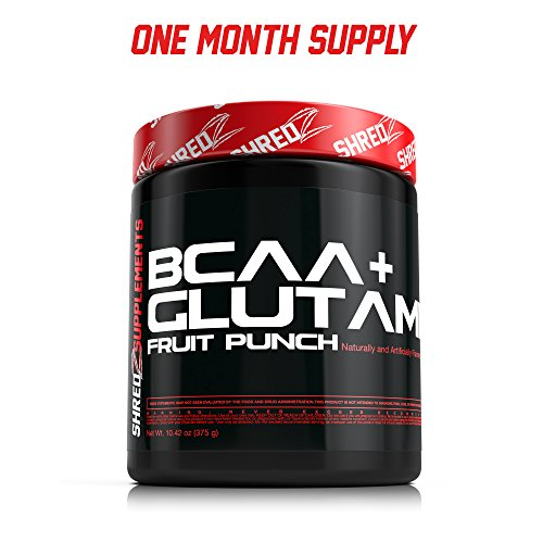 SHREDZ BCAA + GLUTAMINE Building and Recovery Complex - Fruit Punch - 1 mois 10,42 oz