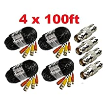 Wennow 4 PACK PREMIUM 100Ft.THICK BNC EXTENSION CABLES FOR Lorex SYSTEMS -Black
