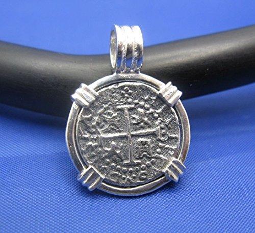 Sterling Silver Small Atocha Shipwreck Coin Replica in Custom Pendant Bezel with Barrel (Atocha Coin Pendant)