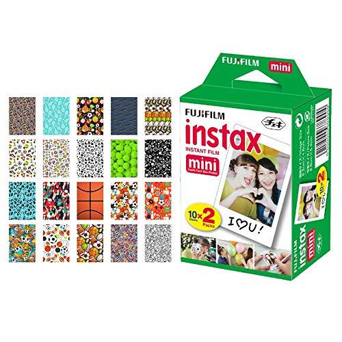 Fujifilm instax Mini Instant Film (20 Exposures) + 20 Sticker Frames for Fuji Instax Prints Sports Package