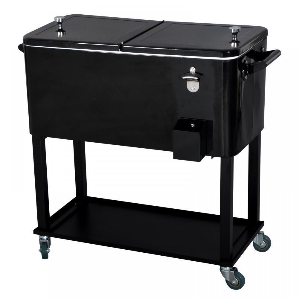 New Black 80 Quart Cooler Beer Cart Outdoor Entertaining Rolling Party Steel