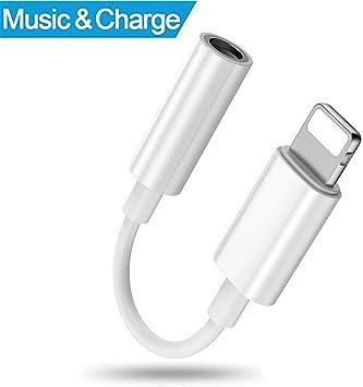 Airylve Adaptador Auriculares iPhone, Lightning Adaptador a 3.5mm Lightning Jack Adaptador para iPhone 7 7plus iPhone 8 8plusiPhone x Blanco