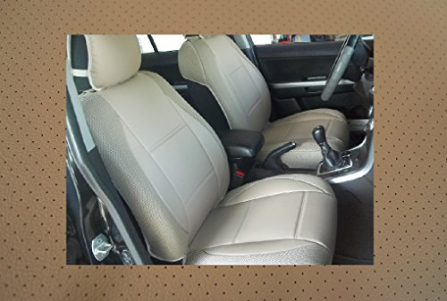 Mix Leatherette (Insert) & Synthetic (Sides) Two Front Custom Car Seat Covers (BMW E46 COUPE, ALL TAN (BEIGE))