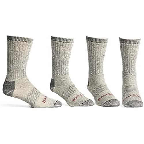 Ballston Medium Weight 86% Merino Wool Socks for Winter & Outdoor Hiking and Trekking- 4 Pairs for Men and Women