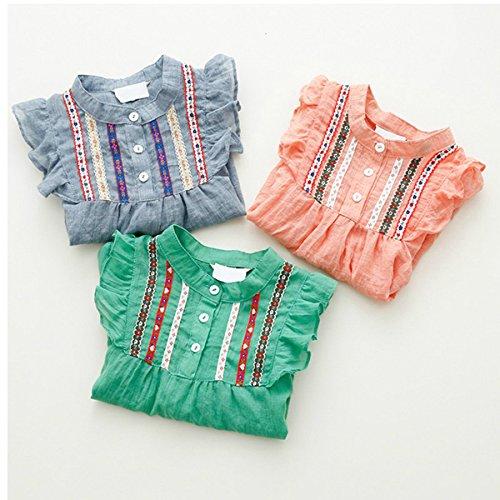 Urparcel Girls Button Down Shirts Long Sleeve Ruffle Loose Tops T-shirts Blouse