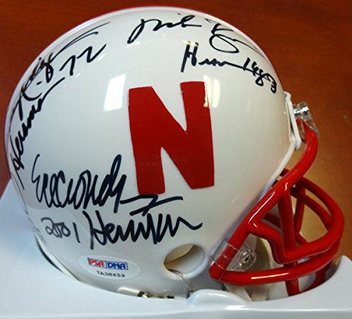 Eric Crouch, Mike Rozier & Johnny Rodgers Autographed Nebraska Cornhuskers Mini Helmet Heisman Winners With Inscriptions PSA/DNA ITP