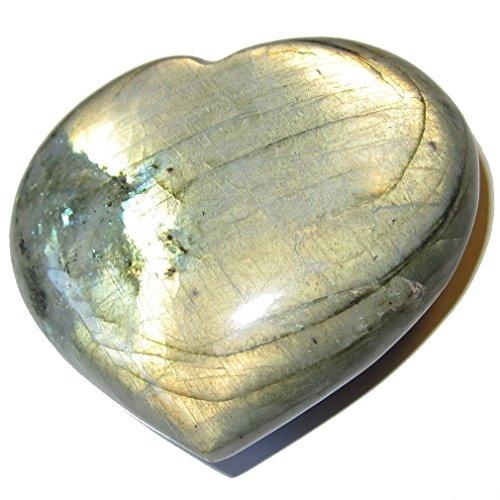 Labradorite Heart 60 Golden Sunrise Stone Natural Rainbow Spectrolite Healing Love Crystal 3'' by SatinCrystals
