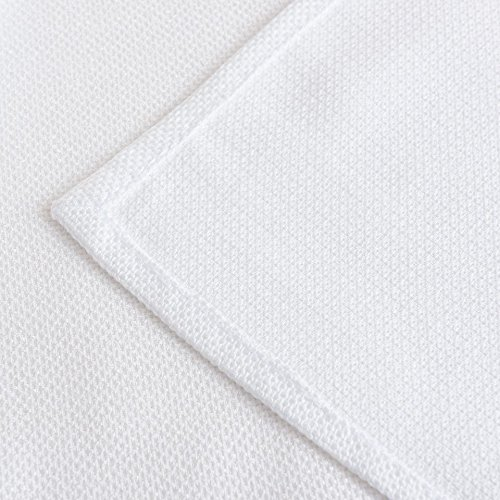 (LINENNEE Basketweave Linen Tight Easy Care 18 x 18-Inch Square Polyester Napkins with Miter Corners 4pcs per Bag,White)