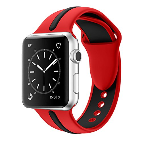 Apple Watch Band, Solomo [Sport Series] Fashion iWatch Strap Soft Durable Silicone Replacement Stripe Color Splicing Style with Women / Men Wristband for Apple Watch Nike+, Series 3 / 2 / 1 (42MM Red) -  YuanHeng Digital Technology Co.,Ltd, AWBSSAO42RD