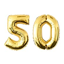 NUOLUX Gold Number 50th Balloon Party Festival Decorations Birthday Anniversary Jumbo Foil Balloons Party Supplies