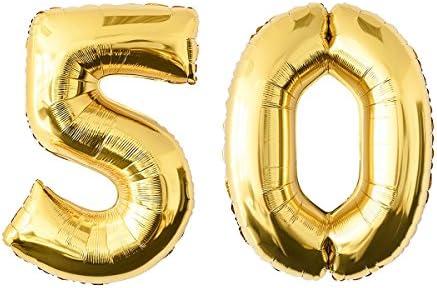 NUOLUX 52.49 pulgadas Número de Oro 50o Globo Party Festival Decoraciones Cumpleaños Aniversario Jumbo Foil Globos Suministros de Fiesta Foto ...