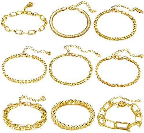 ÌF ME 9 PCS Chain Bracelets Set for Women Adjustable...
