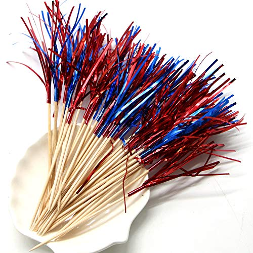 JETEHO 350 Pcs Colorful Firework Cocktail Picks Cake Toppers Toothpicks for Cakes Decoration, Party Supplies, Christmas Decoration]()