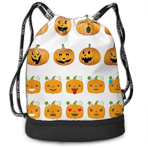 Girls & Boys Drawstring Sack Theft Proof Lightweight Beam Backpack, Swim String Bag - Happy Halloween Pumpkin Waterproof Backpack Soccer Basketball Bag -