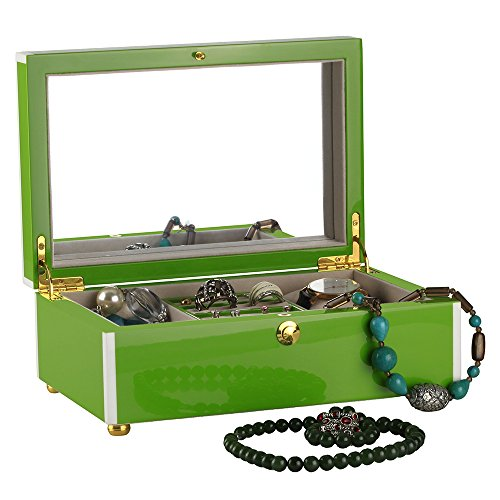 High Box Gloss Storage (Round Rich Hand Painted Wooden Jewel Box, High Gloss Lacquer Wooden Jewelry Box, Jewelry Storage Wooden Box, Piano Finish Like As Mirror. (Fresh Green))