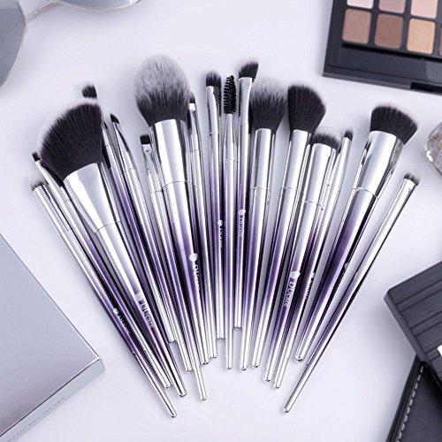DUcare Makeup Brush Set, 17Pcs Ombré Color Professional Essential Face Eye Shadow Eyeliner Foundation Blush Lip Powder Liquid Cream Blending Brushes(Purple Silver)