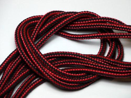 靴ひも.com ワークブーツ用靴紐・赤×黒(約4mm) 100cm