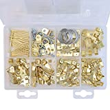 Assorted Picture Hanging Kit - 220 Pieces - Heavy Duty Assortment with Wire, Picture Hangers, Hooks, Nails and Hardware for Frames