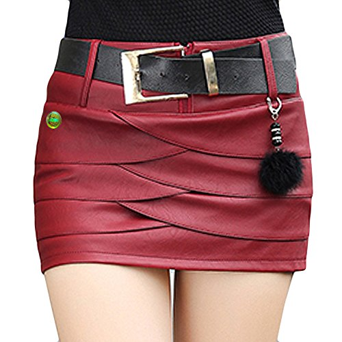 LOCOMO Sexy PU Leather Mini Short Skirt Safety Pant Casua...