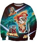 Uideazone Ugly Cat Eat Pizza Shirt Women Men Christmas Pullover Sweatshirts X-mas Gift