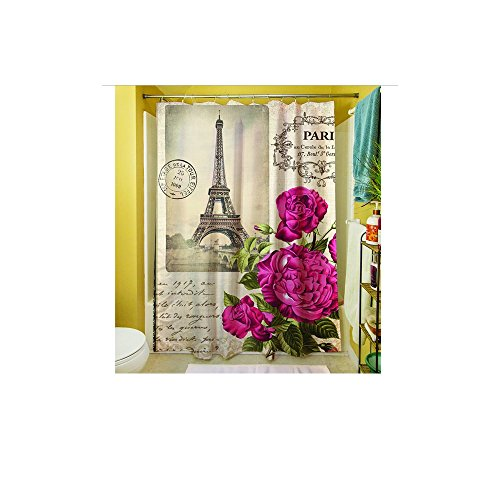 1 Piece Girls Beautiful Paris Themed Shower Curtain, Eiffel Tower Pattern Bathroom Drapes, France Inspired French Style, Pretty Pink Purple Roses Flowers, Polyester by D&H