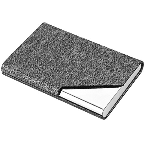 Business Name Card Holder Luxury PU Leather & Stainless Steel Multi Card Case,Business Name Card Holder Wallet Credit Card ID Case/Holder for Men & Women (Gray) Photo #4