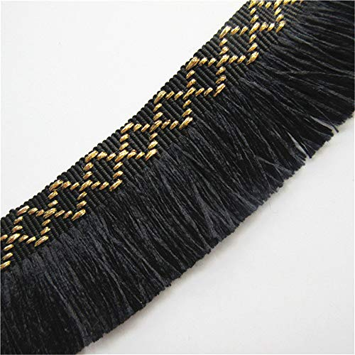 5 Meters Tassel Fringe Gold Thread Lace Trim Ribbon 3.5 cm Width Vintage Style Black Edging Trimmings Fabric Embroidered Applique Sewing Craft Wedding Bridal Dress DIY Party Clothes Embroidery - Fabric Tassel Black